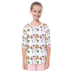Handmade Pattern With Crazy Flowers Kids  Quarter Sleeve Raglan Tee