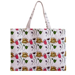 Handmade Pattern With Crazy Flowers Zipper Mini Tote Bag