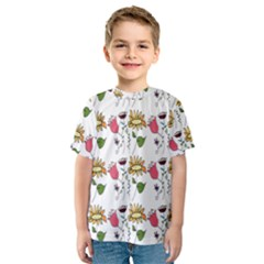 Handmade Pattern With Crazy Flowers Kids  Sport Mesh Tee
