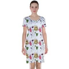 Handmade Pattern With Crazy Flowers Short Sleeve Nightdress