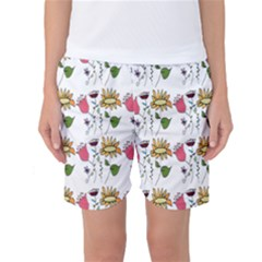 Handmade Pattern With Crazy Flowers Women s Basketball Shorts