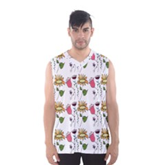Handmade Pattern With Crazy Flowers Men s Basketball Tank Top