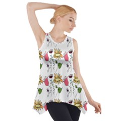 Handmade Pattern With Crazy Flowers Side Drop Tank Tunic