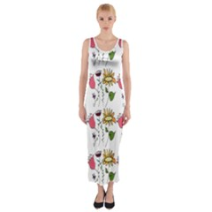 Handmade Pattern With Crazy Flowers Fitted Maxi Dress