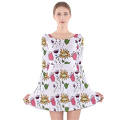 Handmade Pattern With Crazy Flowers Long Sleeve Velvet Skater Dress