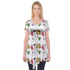 Handmade Pattern With Crazy Flowers Short Sleeve Tunic