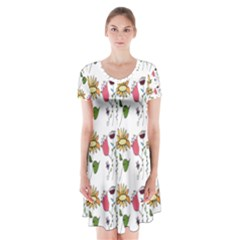 Handmade Pattern With Crazy Flowers Short Sleeve V-neck Flare Dress