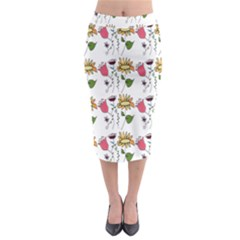 Handmade Pattern With Crazy Flowers Midi Pencil Skirt