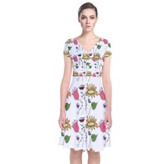 Handmade Pattern With Crazy Flowers Short Sleeve Front Wrap Dress