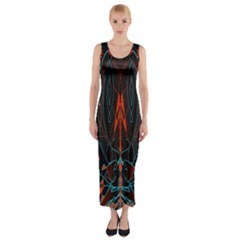Doodle Art Pattern Background Fitted Maxi Dress