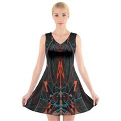 Doodle Art Pattern Background V Neck Sleeveless Skater Dress