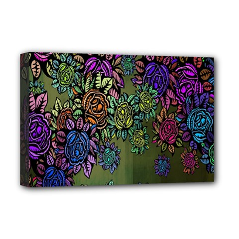 Grunge Rose Background Pattern Deluxe Canvas 18  X 12