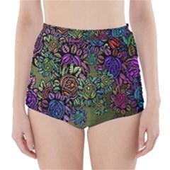 Grunge Rose Background Pattern High-Waisted Bikini Bottoms