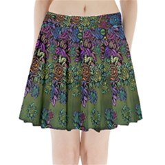 Grunge Rose Background Pattern Pleated Mini Skirt