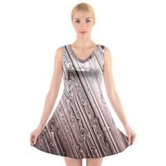 Vintage Pattern Background Wallpaper V-Neck Sleeveless Skater Dress