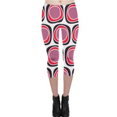 Wheel Stones Pink Pattern Abstract Background Capri Leggings