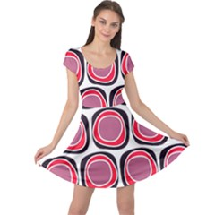 Wheel Stones Pink Pattern Abstract Background Cap Sleeve Dresses