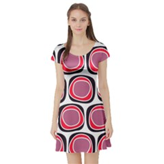 Wheel Stones Pink Pattern Abstract Background Short Sleeve Skater Dress