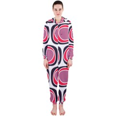 Wheel Stones Pink Pattern Abstract Background Hooded Jumpsuit (ladies)