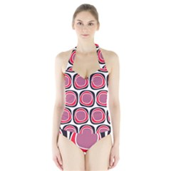 Wheel Stones Pink Pattern Abstract Background Halter Swimsuit