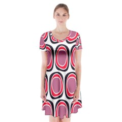 Wheel Stones Pink Pattern Abstract Background Short Sleeve V Neck Flare Dress
