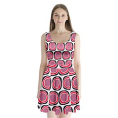Wheel Stones Pink Pattern Abstract Background Split Back Mini Dress