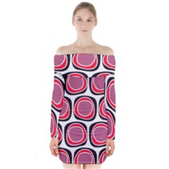 Wheel Stones Pink Pattern Abstract Background Long Sleeve Off Shoulder Dress