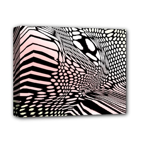 Abstract Fauna Pattern When Zebra And Giraffe Melt Together Deluxe Canvas 14  x 11