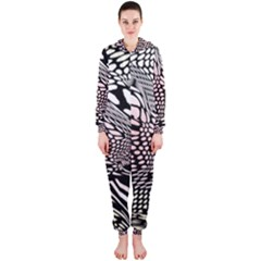 Abstract Fauna Pattern When Zebra And Giraffe Melt Together Hooded Jumpsuit (Ladies)
