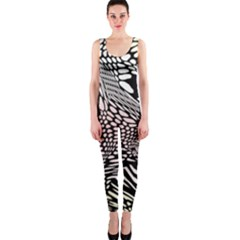 Abstract Fauna Pattern When Zebra And Giraffe Melt Together OnePiece Catsuit