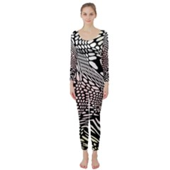 Abstract Fauna Pattern When Zebra And Giraffe Melt Together Long Sleeve Catsuit