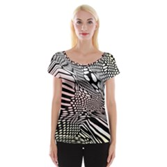 Abstract Fauna Pattern When Zebra And Giraffe Melt Together Cap Sleeve Tops