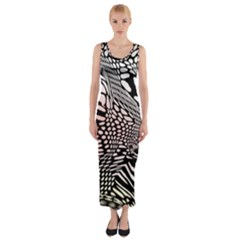 Abstract Fauna Pattern When Zebra And Giraffe Melt Together Fitted Maxi Dress