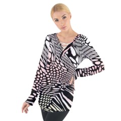Abstract Fauna Pattern When Zebra And Giraffe Melt Together Women s Tie Up Tee