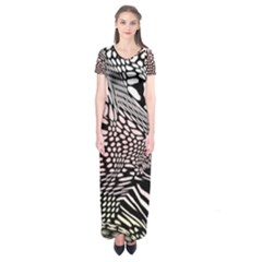 Abstract Fauna Pattern When Zebra And Giraffe Melt Together Short Sleeve Maxi Dress