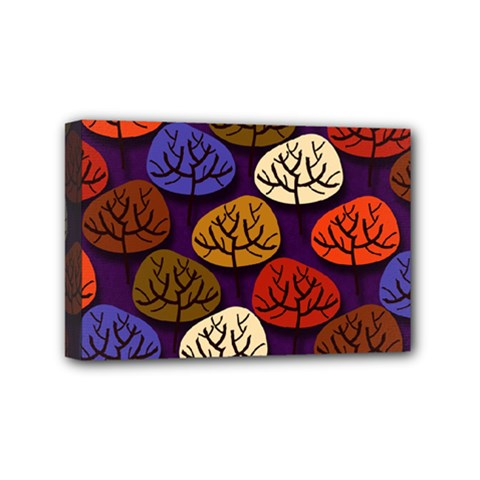 Colorful Trees Background Pattern Mini Canvas 6  x 4