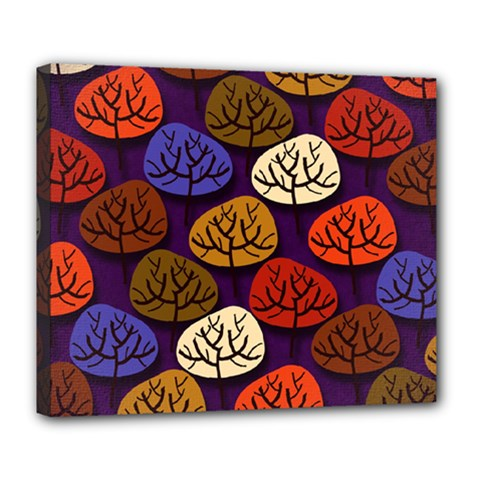 Colorful Trees Background Pattern Deluxe Canvas 24  x 20