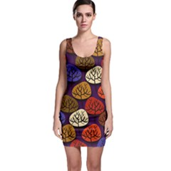 Colorful Trees Background Pattern Sleeveless Bodycon Dress
