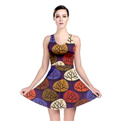 Colorful Trees Background Pattern Reversible Skater Dress