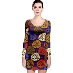 Colorful Trees Background Pattern Long Sleeve Bodycon Dress