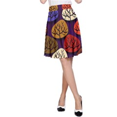 Colorful Trees Background Pattern A-Line Skirt
