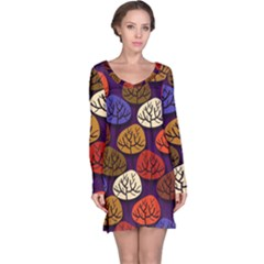 Colorful Trees Background Pattern Long Sleeve Nightdress