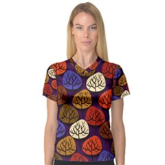 Colorful Trees Background Pattern Women s V-Neck Sport Mesh Tee
