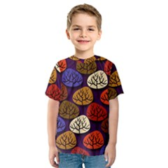 Colorful Trees Background Pattern Kids  Sport Mesh Tee