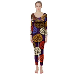 Colorful Trees Background Pattern Long Sleeve Catsuit