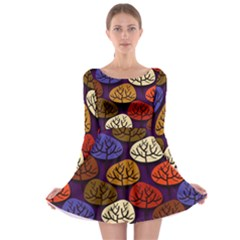 Colorful Trees Background Pattern Long Sleeve Skater Dress