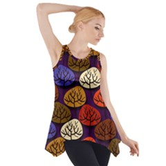 Colorful Trees Background Pattern Side Drop Tank Tunic