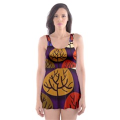 Colorful Trees Background Pattern Skater Dress Swimsuit