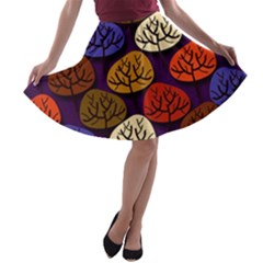 Colorful Trees Background Pattern A Line Skater Skirt