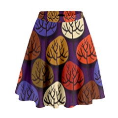 Colorful Trees Background Pattern High Waist Skirt